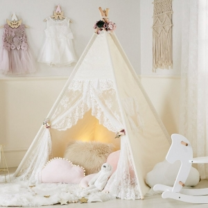 Kids Play Tent, Teepee Tent with Lace